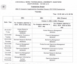JNTU Anantapur MBA 1st And 2nd Sem Reg & Supple Dec/Jan 2017/18 Exams Timetables